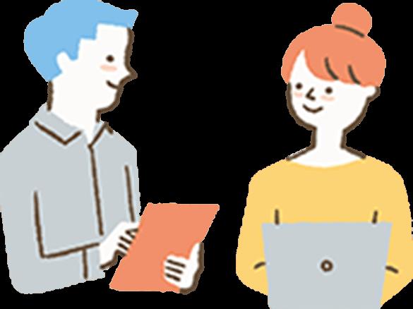 相談事をする男性と女性のイラスト