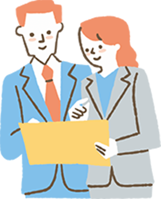 仕事の相談をし合う男性と女性のイラスト